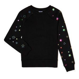 Girls Black Fleece Sweatshirt Iridescent Stars NEW